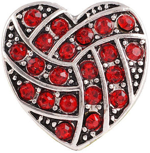 18/20mm Red Crystal Woven Heart Snap