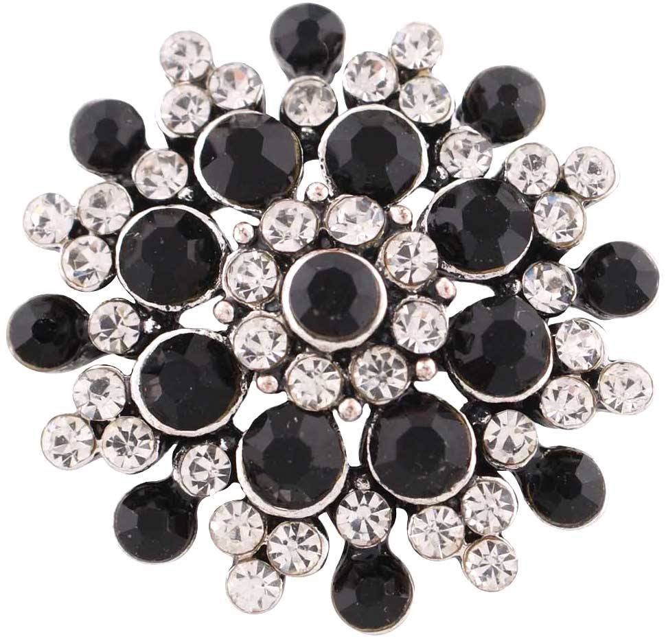 18/20mm  Black & Clear Vibrant Crystal Snap