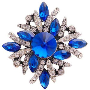 18/20mm Brilliant Blue & Clear Crystal Swirl Snap