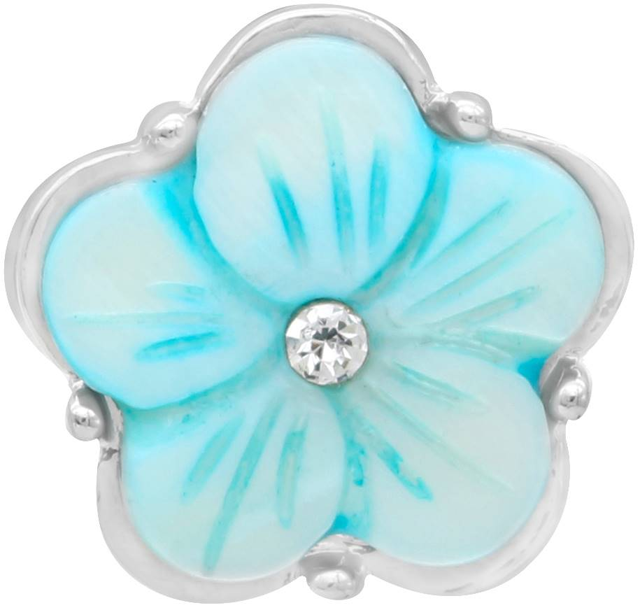 18/20mm Light Blue Engraved With Crystal Flower Snap