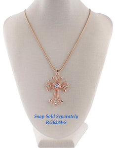 12mm Rose Gold & Crystal Cross Necklace