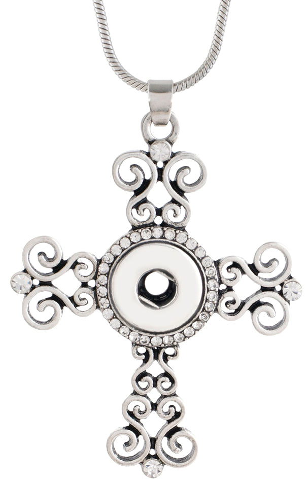 12mm Antiqued Silver Tone & Crystal Swirl Cross Necklace