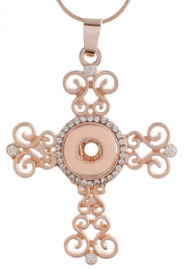 12mm Rose Gold & Crystal Swirl Cross Necklace