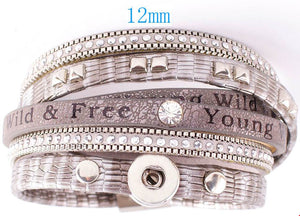 12mm One Snap Vintage Inspired Multi-Wrap Bracelet - Silver/Gray
