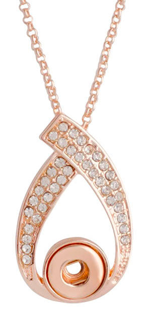 12mm Rose Gold Swirl With Clear Crystals Necklace
