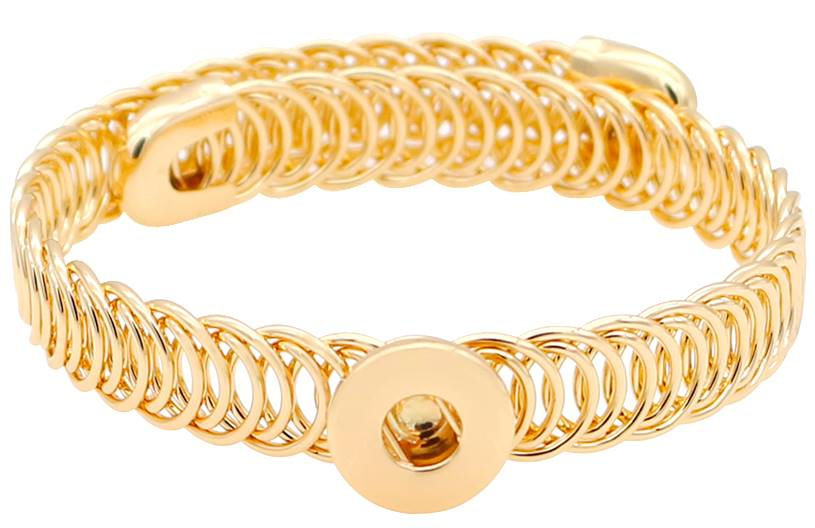12mm Gold Narrow Coil Band Adjustable Cuff Bracelet