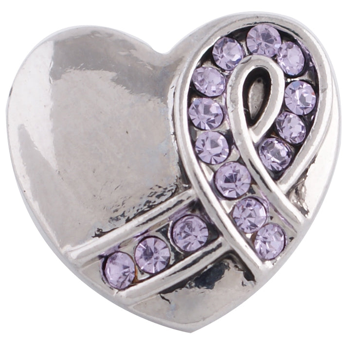 12mm Purple Crystal Ribbon Heart Snap
