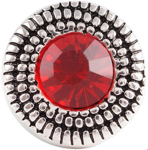 12mm Red Crystal With Double Silver Swirl Snap