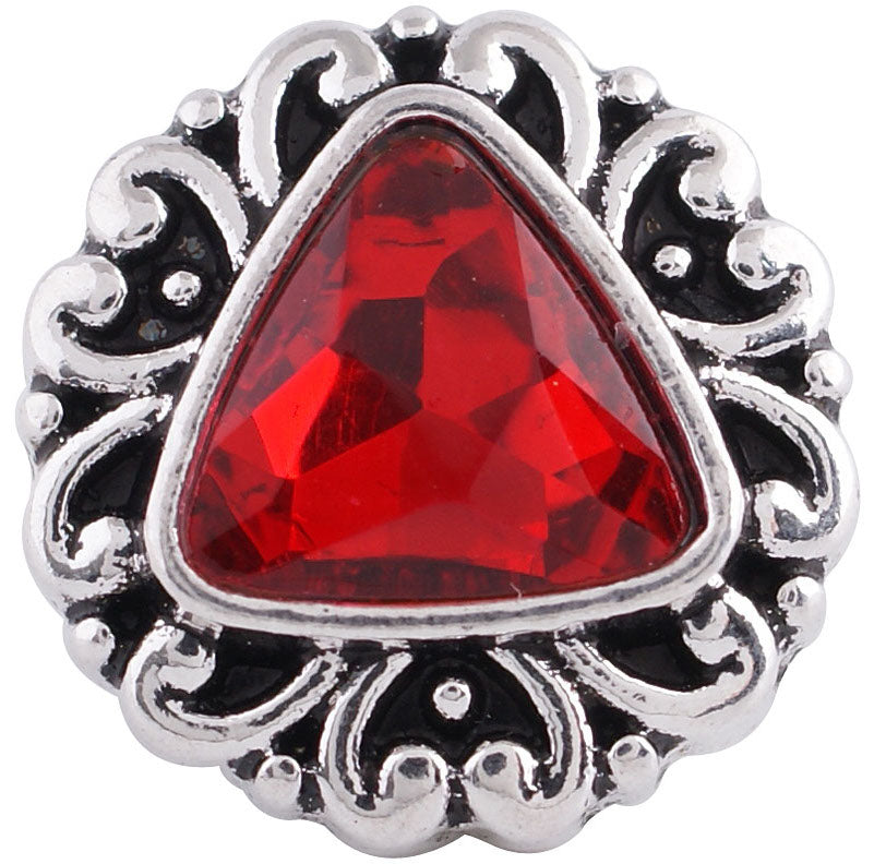 12mm Red Triangular Stone Deco Snap