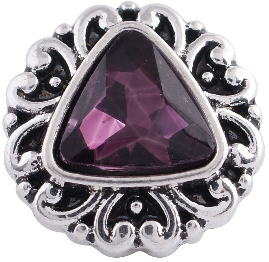 12mm Purple Triangular Stone Deco Snap
