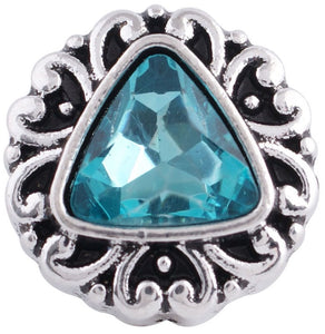 12mm Teal Triangular Stone Deco Snap