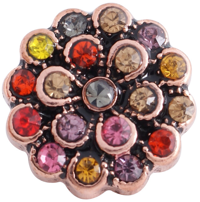 12mm Rose Gold Base Multi-Color Stone Flower Snap