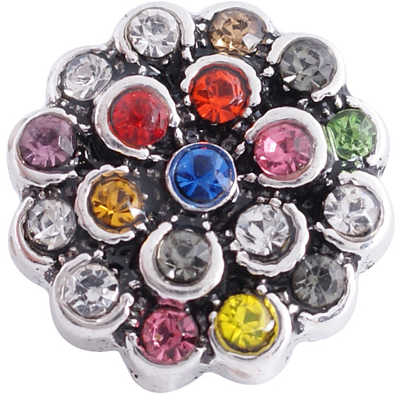 12mm Silver Base Multi Color Crystal Flower Snap