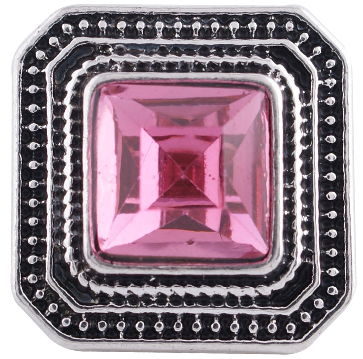 12mm Pink Stone Square Snap