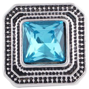 12mm Teal Stone Square Snap