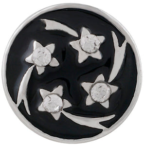 12mm Black With Silver Shooting Stars Snap