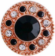 Load image into Gallery viewer, 12mm Rose Gold With Black Crystal Center And Clear & Black Crystals Snap