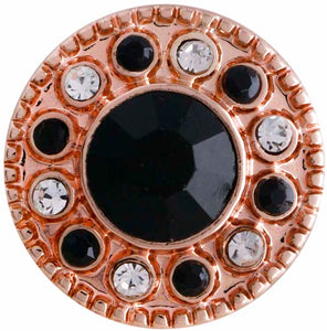 12mm Rose Gold With Black Crystal Center And Clear & Black Crystals Snap