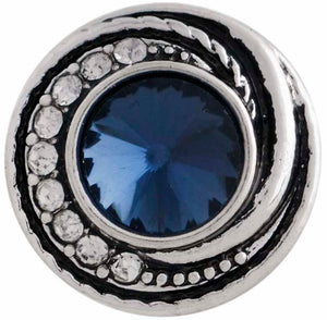 12mm Deep Blue w/Clear Crystals Swirl Snap
