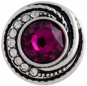 12mm Deep Pink w/Clear Crystals Swirl Snap