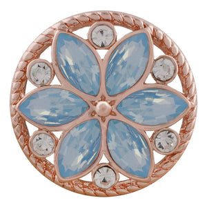 18/20mm Rose Gold & Opalescent Crystal Flower Snap