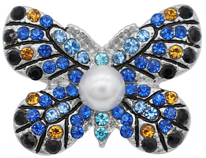 18/20mm Blues Sparkle Crystal Butterfly Snap