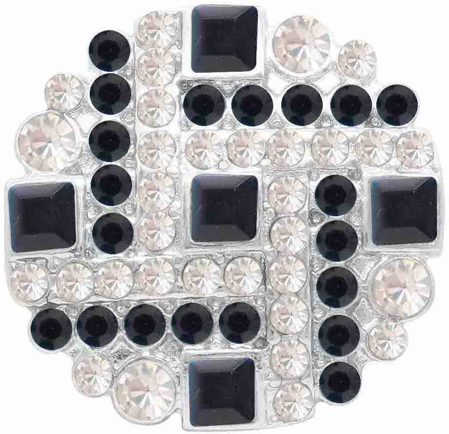 18/20mm Brilliant Black & Clear Multi Crystal Snap