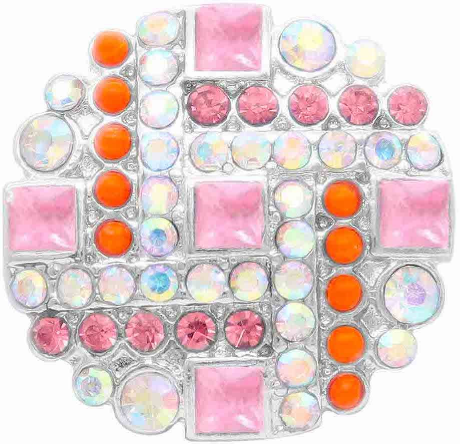 18/20mm Brilliant Pinks/Oranges/Clear Multi Crystal Snap