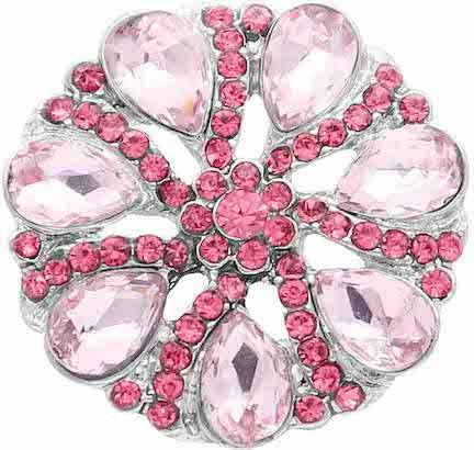 18/20mm  Brilliant Pink Crystals Swirl Bling Snap