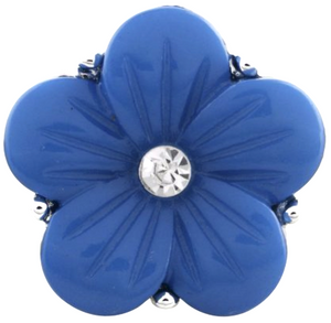 18/20mm Blue Engraved With Crystal Flower Snap