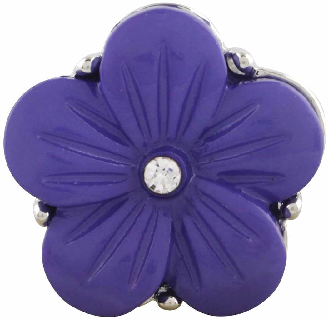 18/20mm Purple Engraved With Crystal Flower Snap