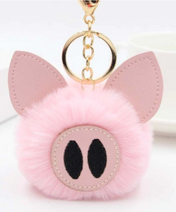 "18/20mm ""Fun-Key"" Fluffy Pink Pig Snap Keychain"
