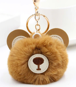 "18/20mm ""Fun-Key"" Fluffy Brown Bear Snap Keychain"