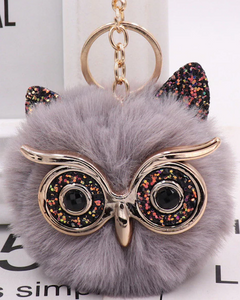 "18/20mm ""Fun-Key"" Fluffy Gray Glitter Owl Snap Keychain"
