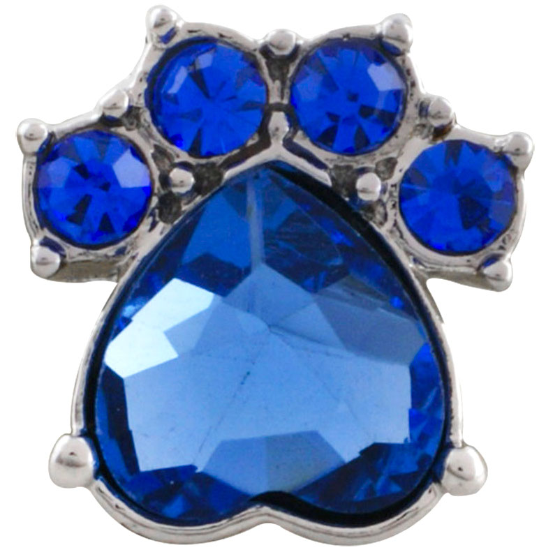 12mm Blue Crystal Paw Print Snap