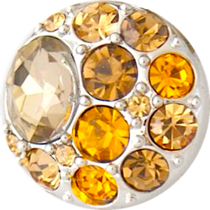 18/20mm Brilliant Topaz/Yellow Multi Crystal Snap