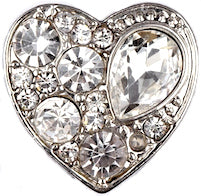18/20mm Crystal Dazzle Heart Snap