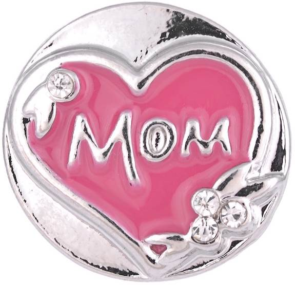 18/20mm Pink & Silver Special Mom Heart Snap
