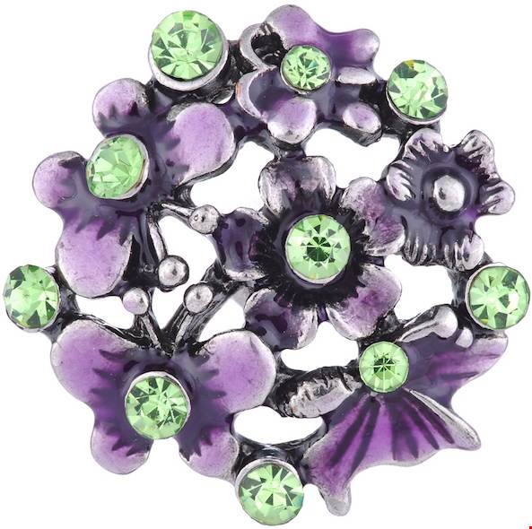 18/20mm Purple Flowers & Butterflies With Green Crystals Snap