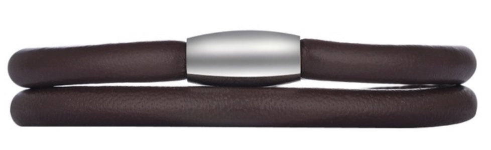 Double Wrap Brown Endless Leather Bracelet (12mm & 18/20mm Dangles Included)