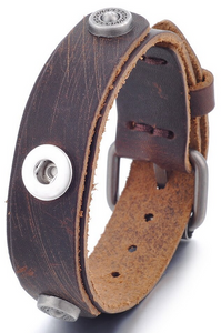 12mm Brown Leather Single Snap Adjustable Bracelet