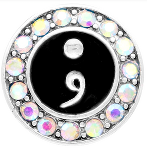 18/20mm Crystal & Enamel Semicolon Snap