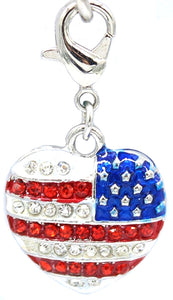 Crystal Flag Clip Dangle