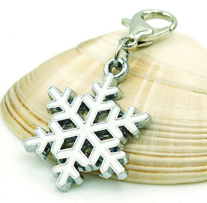 White Snowflake Dangle Clip