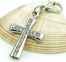 Load image into Gallery viewer, Crystal Cross Dangle Clip