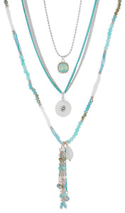 Teal 3 Strand Bohemian Multi-Layer 18/20mm Single Snap Necklace