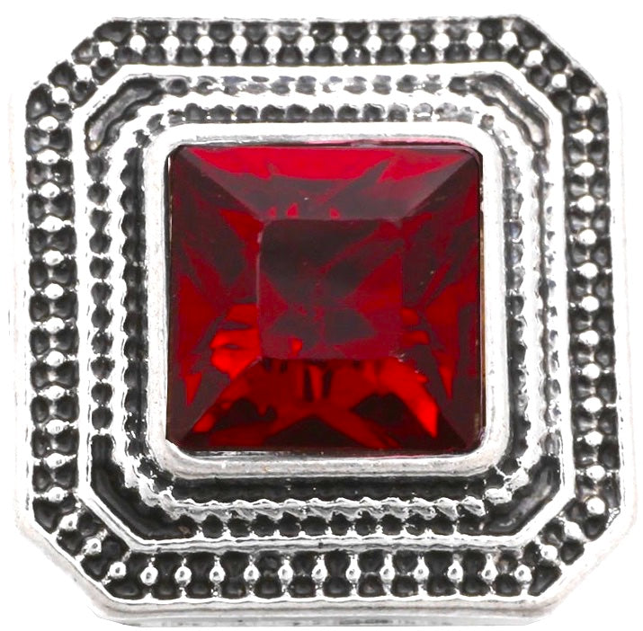 12mm Red Stone Square Snap