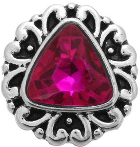 12mm Bright Pink Triangular Stone Deco Snap
