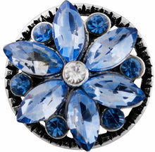 Load image into Gallery viewer, 12mm Light Blue Crystal Flower Snap