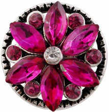Load image into Gallery viewer, 12mm Deep Pink Crystal Flower Snap